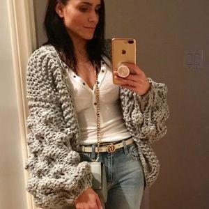 "Sweaters - 🔃 WISHLET ""Grey"" Puff Sleeve Knit Cardigan"